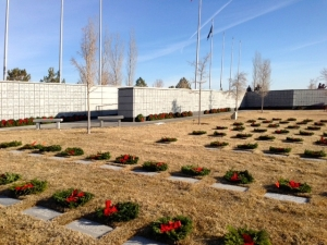 Wreaths Across America - December 2013. Chapter 989 places Christmas Wreaths on Soldiers Graves at the Northern Nevada Veterans Memorial Cemetery, in Fernley.